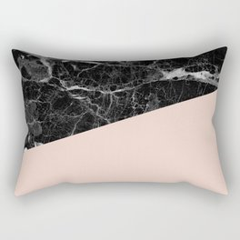 Black Marble and Pale Dogwood Color Rectangular Pillow