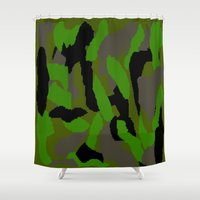 camouflage Shower Curtains featuring Camouflage by Justbyjulie