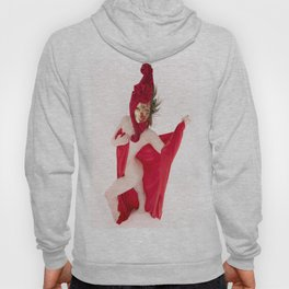 1524s-MM Red Mask Art Nude Fit Model Bare Under Red Drape Hoody