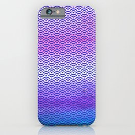 Candy Pop/Navy Blue Watercolor Seigaiha Pattern iPhone Case