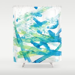 Blue Green and Yellow Shower Curtain