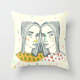 Last Sunset Twins Throw Pillow