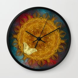 Magical fire mandala and gold butterfly Wall Clock