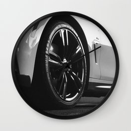 Black Rim Sports Car // White Paint Street Level B&W German Bavarian Motor Automobile Photograph Wall Clock
