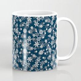 Festive Midnight Blue and White Christmas Holiday Snowflakes Coffee Mug