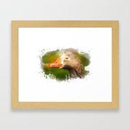 Goose face Framed Art Print