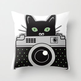 Black Cat and Camera Throw Pillow