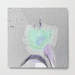 Tulip Grid White Metal Print