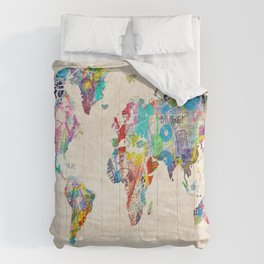 world map music art Comforters
