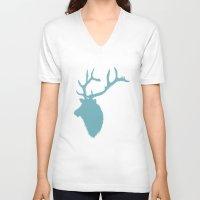 elk V-neck T-shirts featuring Elk by marissaspratt