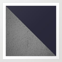 Geometrical Color Block Cement vs  vs evening blue Art Print