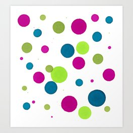 Pink, Green, Teal Dot Patten - Abstract Ink Painting Art Print