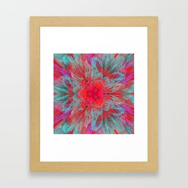 Mint and red abstract digital background Framed Art Print
