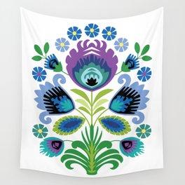 Polish Folk Flowers Purple Wall Tapestry