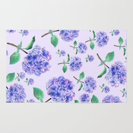purple blue hydrangea in purple background Rug