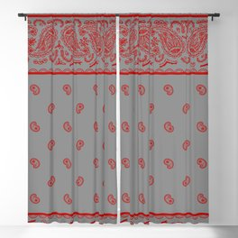 Classic Gray and Red Bandana Blackout Curtain