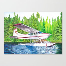 Bush Plane color pencil Canvas Print