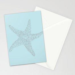Starfish Bliss Black on Light Teal - Digital Art  Stationery Cards