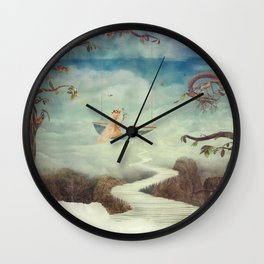 Little girl on the swing in the  fantastic country in sky  Wall Clock