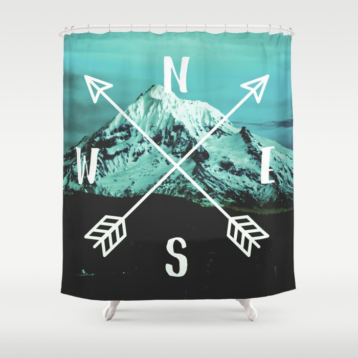 Turquoise Mountain Compass Shower Curtain