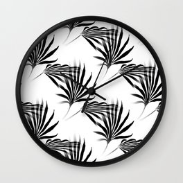Palmetto Fronds Leaf Pattern Black and White Wall Clock