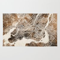 montreal Area & Throw Rugs featuring Montreal by Map Map Maps