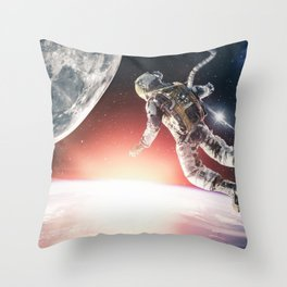 Between Earth and Moon by GEN Z Throw Pillow