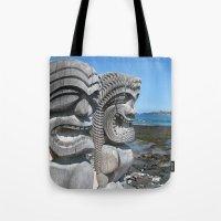 tiki Tote Bags featuring Tiki by courtney2k ⚓ design™