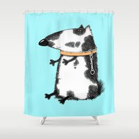 dog Shower Curtains featuring DOG by Кaterina Кalinich
