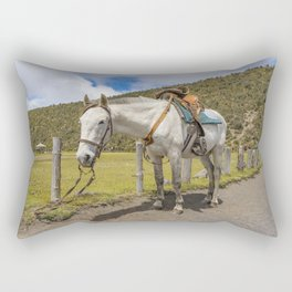 White Horse Tied Up at Cotopaxi National Park Ecuador Rectangular Pillow