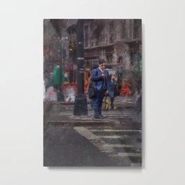NYC Brooklyn New York City Manhattan Oil Painting City Streets Acrylic Art Print Decor Metal Print