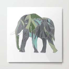 Elephant with Green and Turquoise Metal Print