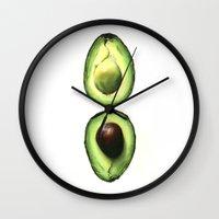 avocado Wall Clocks featuring Avocado by Sam Luotonen