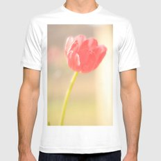 Pink Tulips White MEDIUM Mens Fitted Tee