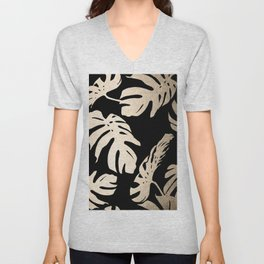 Simply Palm Leaves in White Gold Sands on Midnight Black Unisex V-Neck