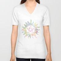 supernatural V-neck T-shirts featuring Supernatural watercolours by Dan Lebrun