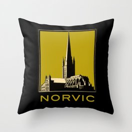 Vintage Norvic Cathedral with Bold, Beautiful Color Throw Pillow