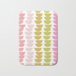 Geometric Kitchen Bowls in Pink, Chartreuse, and Green Bath Mat