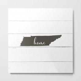 Tennessee is Home - Charcoal on White Wood Metal Print