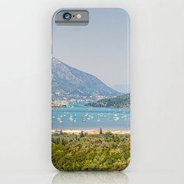 Many sailing boats at the village Vlycho in Lefkada, Greece iPhone Case
