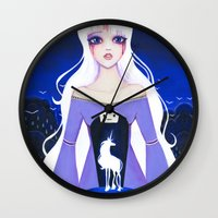 the last unicorn Wall Clocks featuring The Last Unicorn by Leilani Joy