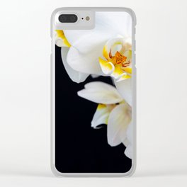White Orchid on a black background Clear iPhone Case