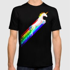 Pixel Unicorn MEDIUM Black Mens Fitted Tee