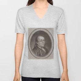 Vintage Portrait of Ben Franklin (1787) Unisex V-Neck