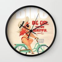bike Wall Clocks featuring BIKE by melivillosa