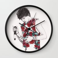 louis Wall Clocks featuring Floral Louis by Coconut Wishes