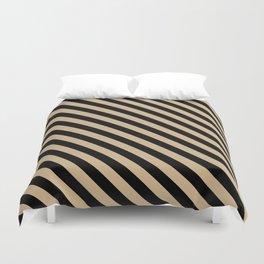 Tan Brown and Black Diagonal LTR Stripes Duvet Cover