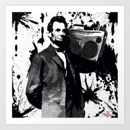 ABRAHAM LINCOLN INK SPLASH MAKE MUSIC NOT WAR Art Print