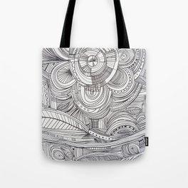 Hand drawn black white pencil zentangle floral Tote Bag