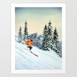 Skiing The Clear Leader Art Print